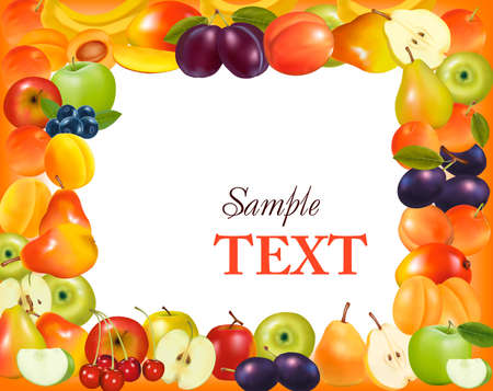 Frame made from fruit. Vector. Stock Vector - 9718953