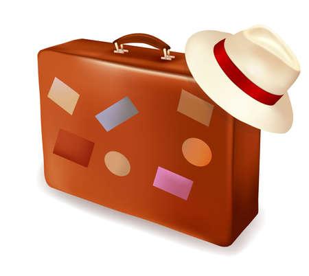 voyage: Maleta de viaje y un sombrero. Ilustraci�n vectorial.
