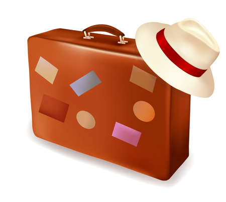 voyage: Travel suitcase and a hat. Vector illustration.