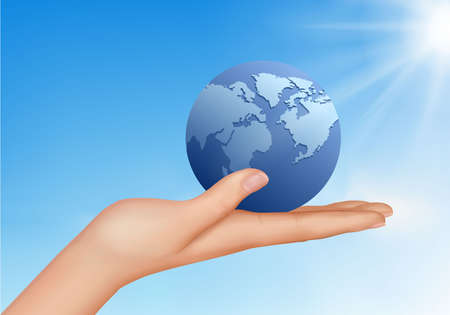 Globe in human hand against blue sky. Environmental protection concept.  Stock Vector - 9721696