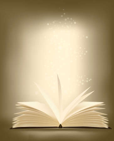 Opened magic book with magic light. vector illustration. Ilustracja