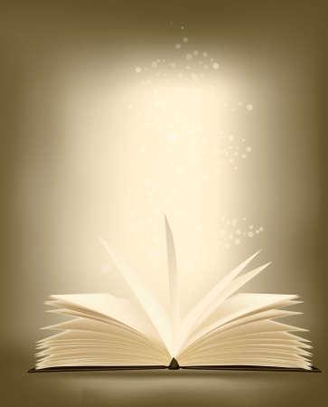 copertina libro antico:  Aperto il libro magico con luce magica. illustrazione vettoriale.