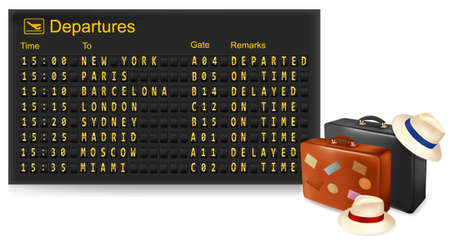 departure board: Mechanical terminal and travel suitcase.