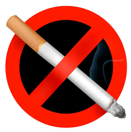 cigar smoke: No smoking sign. Vector illustration. Illustration