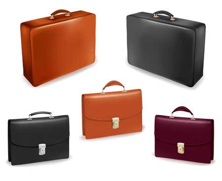 packing suitcase: Impostare con le valigie.Illustrazione vettoriale.
