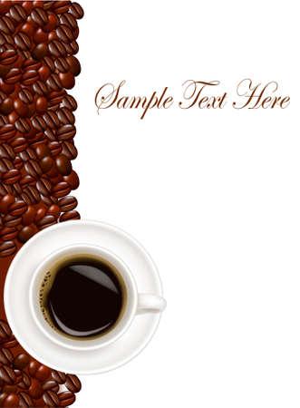 grains of coffee: Dise�o con taza de caf� y granos de caf�. Vector.