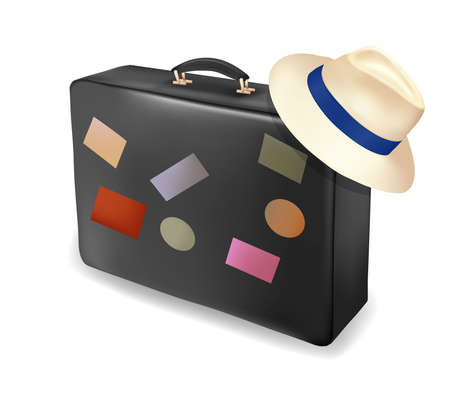 Travel suitcase and a hat. Vector illustration. Stock Vector - 9721218