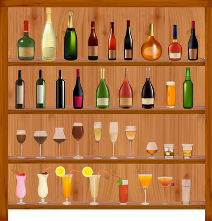 tomato juice: Set of different drinks and bottles on the wall. Vector illustration. Illustration