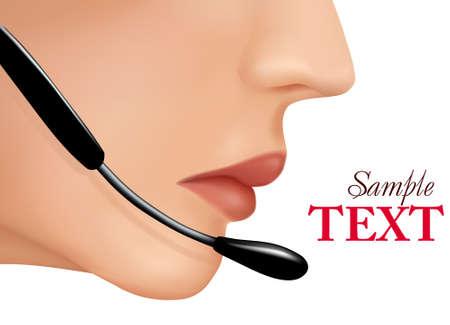 headset business: Le donne devono affrontare con l'auricolare. Illustrazione vettoriale.