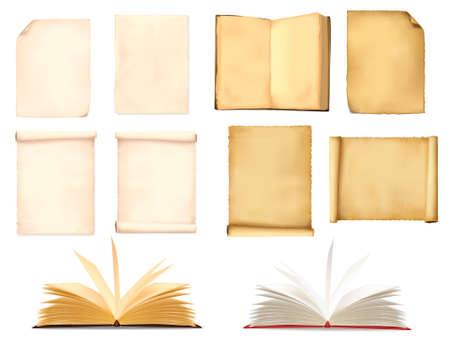 Ensemble de feuilles de papier vieux. Vector illustration.