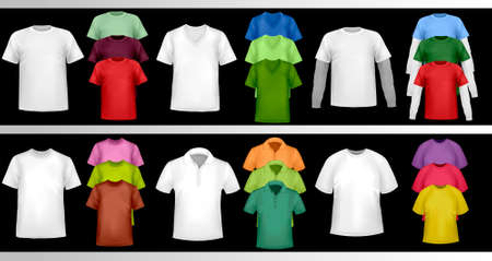t shirt printing: Color t-shirt design template. Vector illustration.