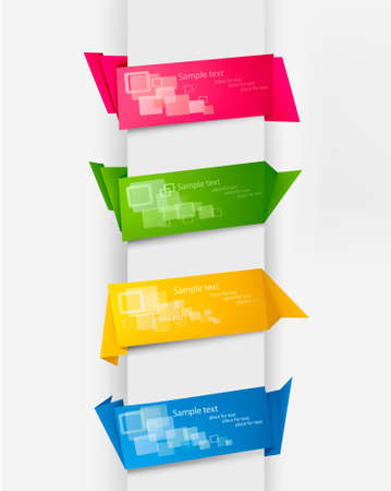 Set with colorful paper banners. Vector illustration.  Stock Vector - 9924133