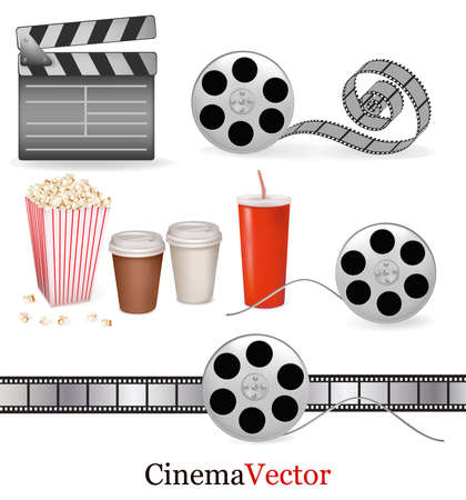 movie clapper: Big set of cinema objects. Vector illustration.