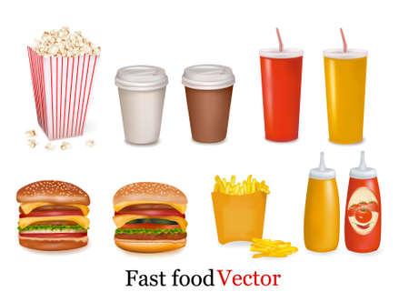 Vector. Big group of fast food products. Векторная Иллюстрация