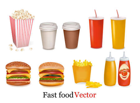 vegetable fat: Vector. Big group of fast food products.