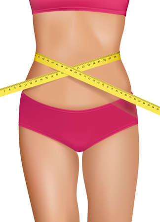 verlies: Fit jonge vrouw het lichaam met de gemeten taille. Concept van het dieet. Vector.