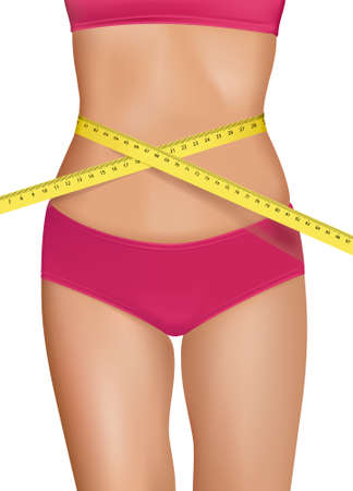 허리의 잘룩 한 선: Fit young woman body with measured waistline. Concept of diet. Vector.