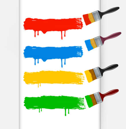 Colorful paint brushes leaving a horizontal trail. Vector illustration.  Vector