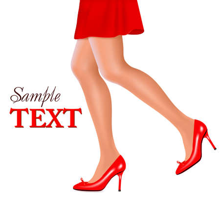 Waist-down view of woman wearing red high heel shoes. Concept of beauty and fashion. Vector illustration.  Vector