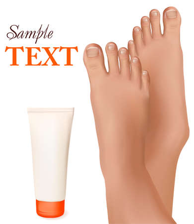 Beautiful young feet with body cream. Body care concept. Vector illustration  Vector