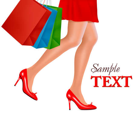 high fashion: Waist-down view of shopping woman wearing red high heel shoes and carrying shopping bags. Vector illustration.