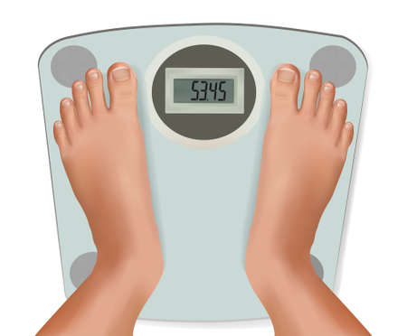 Beautiful young feet on the scale. Concept of diet. Vector.  Stock Vector - 9924167