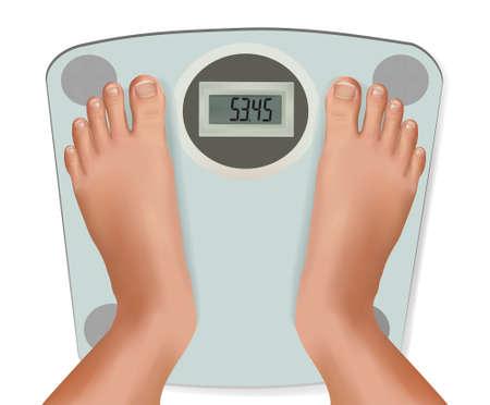 balanza en equilibrio: Pies hermosos j?venes en la escala. Concepto de dieta. Vector.