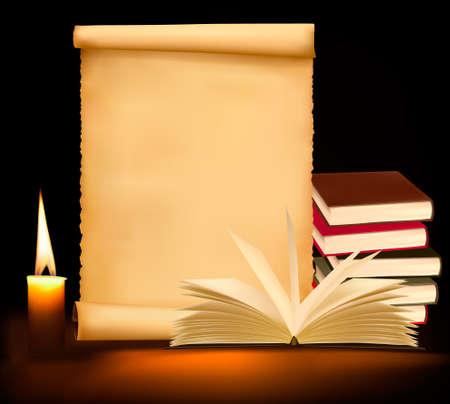 vieux livres: Arri�re-plan avec des livres papier, bougies et vieux vieux. Vector illustration.