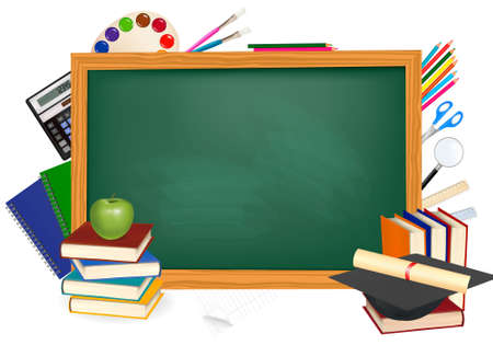 Back to school. Green desk with school supplies. Vector.  Vector