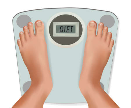 bathroom weight scale: Beautiful young feet on the scale. Concept of diet. Vector.  Illustration
