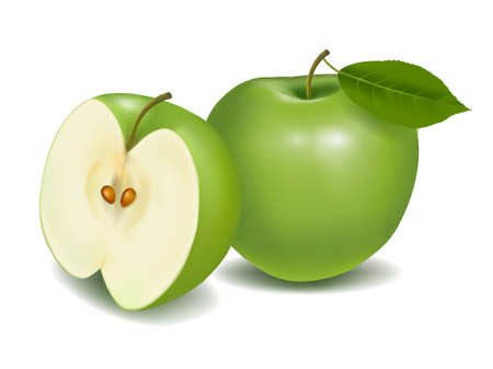 green apple: Fresh green apple with green leaf. Vector illustration.