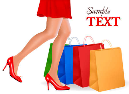 Waist-down view of shopping woman wearing red high heel shoes and carrying shopping bags. Vector illustration.  Vector