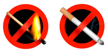 No smoking sign and no matchstick fire sign. Vector illustration. Vector