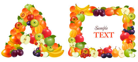 Letter A and a frame made from fruit Stock Vector - 9935560