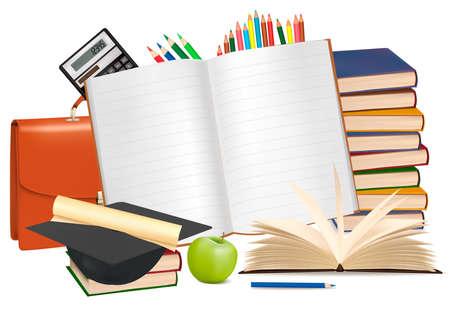 Retour à l'école. Bloc-notes avec des fournitures scolaires Vecteurs