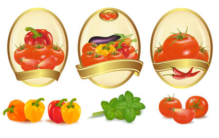 gourmet: Three gold labels with different sorts of vegetables