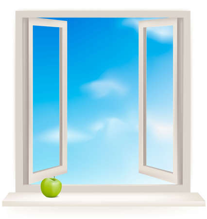 Open window against a white wall and the cloudy sky.  Stock Vector - 9935545