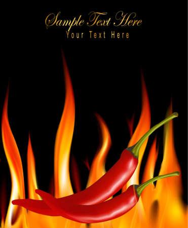 Hot chili peppers en feu.  Vecteurs