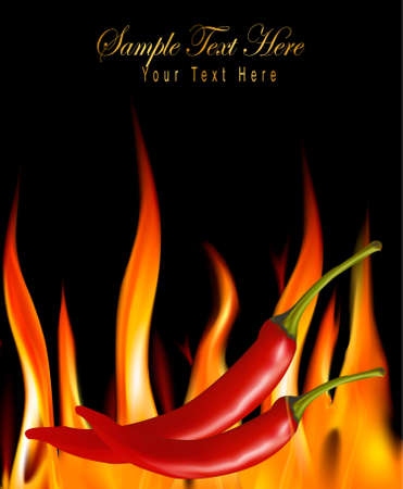 Hot chili peppers in fire. Stock Vector - 9935544