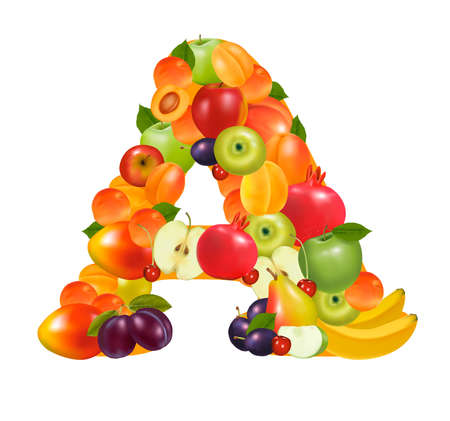canned food: Letter A made from fruit