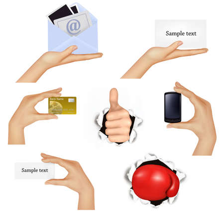 Set of hands holding different business objects and red boxing glove illustration.  Vector