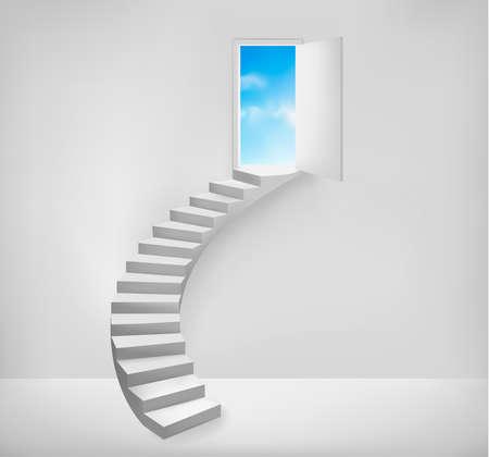 Open deur naar een dromerige plaats. Vector illustratie.