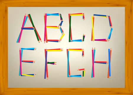 Alphabet design from pencil letters (a, b, c, d, e, f, g, h). Vector illustration.  Vector