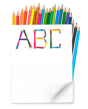 Back to school. Background with colorful pencils. Vector. Vector