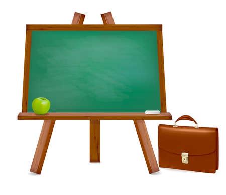 Back to school. Green desk with school supplies. Vector illustration Ilustracja