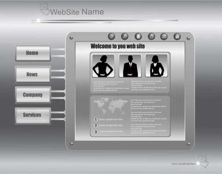 Business website template made in metal design. Vector illustration.  Vector