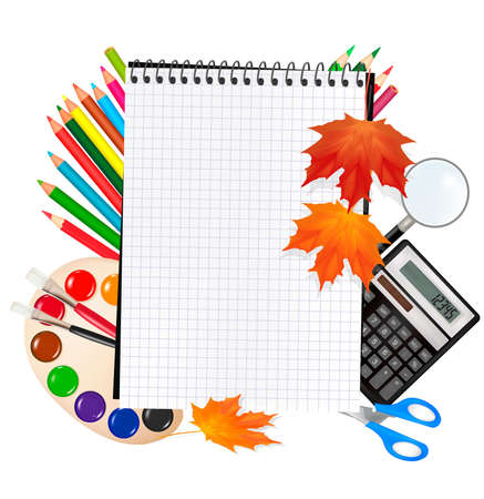 back to school: Back to school. Notepad with school supplies. Vector.