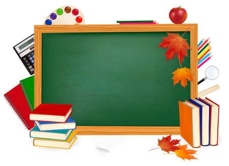 Back to school. Green desk with school supplies. Vector. Stock Vector - 10066707