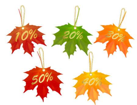 Autumn designed sale cards. Vector illustration.  Vector