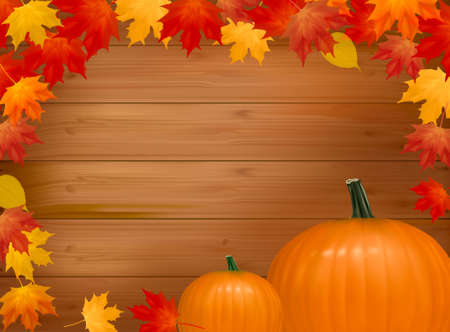 Autumn background with pumpkins. With copy space. Vector illustration.  Vector